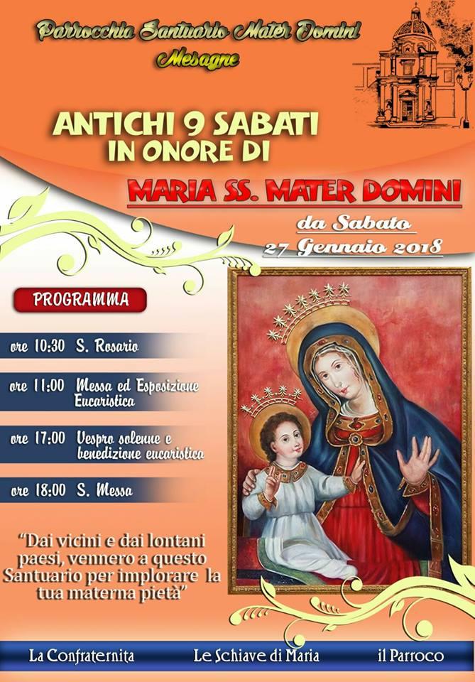 Antichi 9 sabati in onore di Maria SS. Materdomini