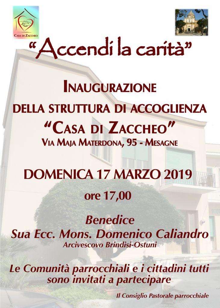 Manifesto inaugurazione Casa di Zaccheo